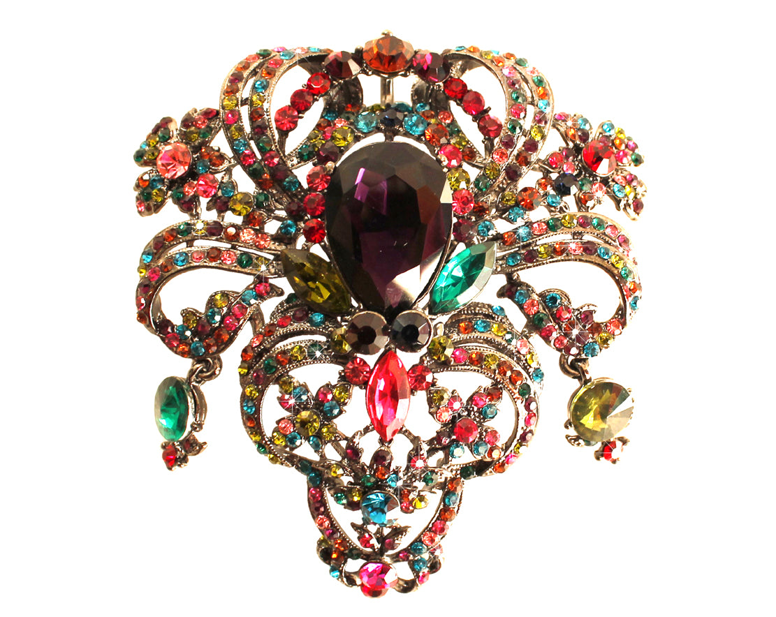Mr. Song Millinery Multicoloured Crystal Rhinestone Pendant Brooch Pin