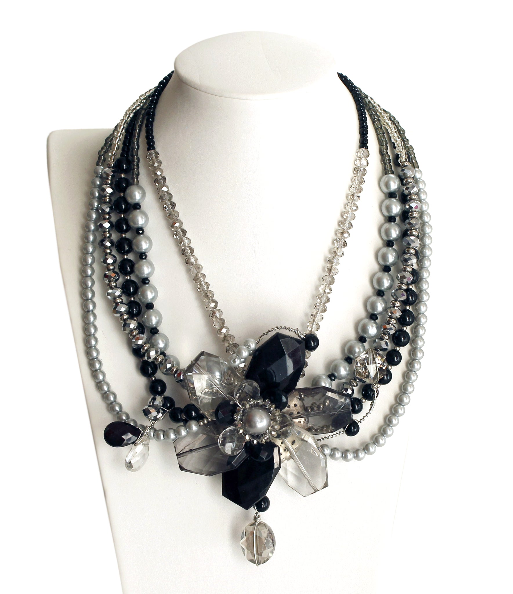 Mr. Song Millinery Multi-Layer Beaded Necklace - Black Pearl