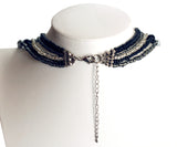 Multi-Layer Beaded Necklace - Black/Grey/Clear