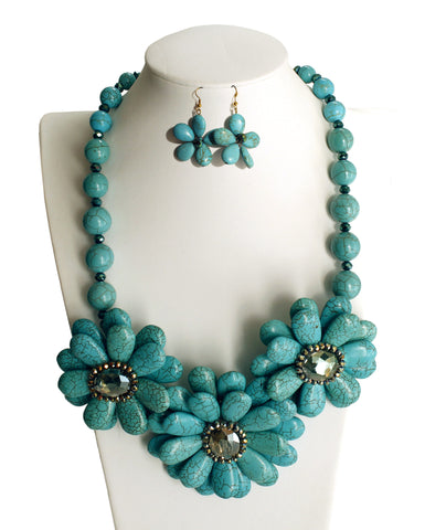 Flower Necklace + Earrings - 2 Colors