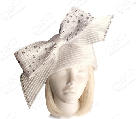 Beret Cloche Hat With Signature Rhinestone Bow - 2 Colors