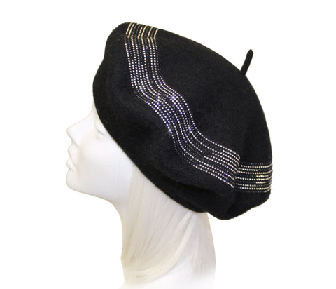 Mr. Song Millinery Wool Felt Beaded Beret Beanie - 3 Colors