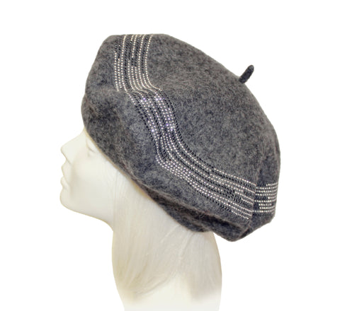 Wool Felt Beaded Beret Beanie - 3 Colors