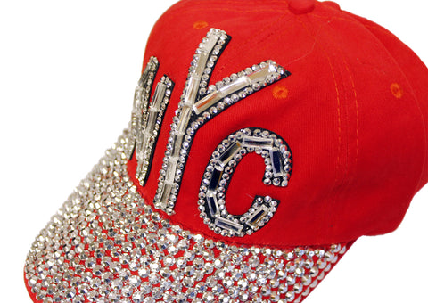 "Mr. Song Millinery Rhinestone Encrusted ""NYC"" Fitted Baseball Bib-Cap - Red"