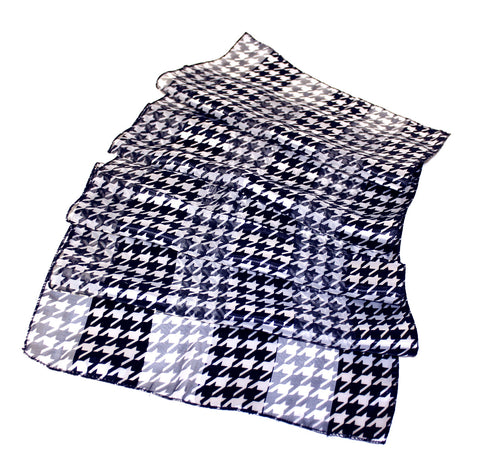 Houndstooth Satin Opaque & Sheer Panel Scarf - Black/White