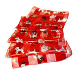 Satin Opaque & Sheer Panel Scarf - Dogs