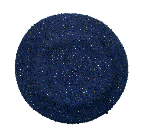 Mr. Song Millinery Wool Felt Jeweled Beanie Beret - 2 Colors