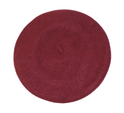 """Raspberry Beret"" Lined Wool Felt French Beanie- Assorted Colors"