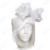 All-Season Crin Fascinator With Signature Accents - White/Gold