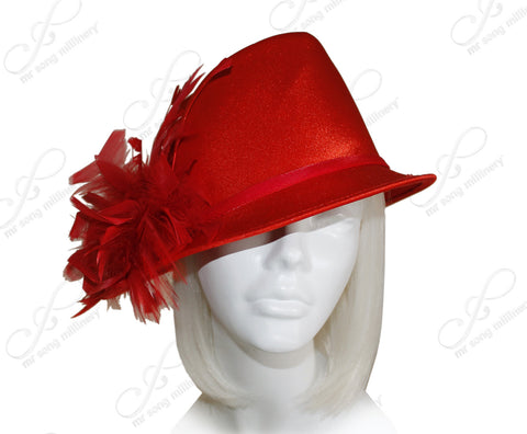 Satin Fedora with Bias Slant Brim - Red