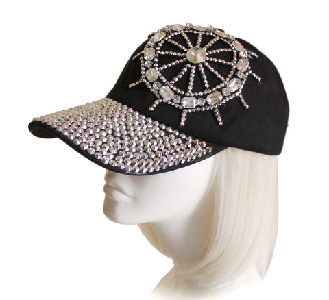 Mr. Song Millinery Rhinestone Encrusted Fitted Baseball Bib-Cap - 2 Colors