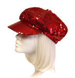 Newsboy Glitter Sequin Cap - Red
