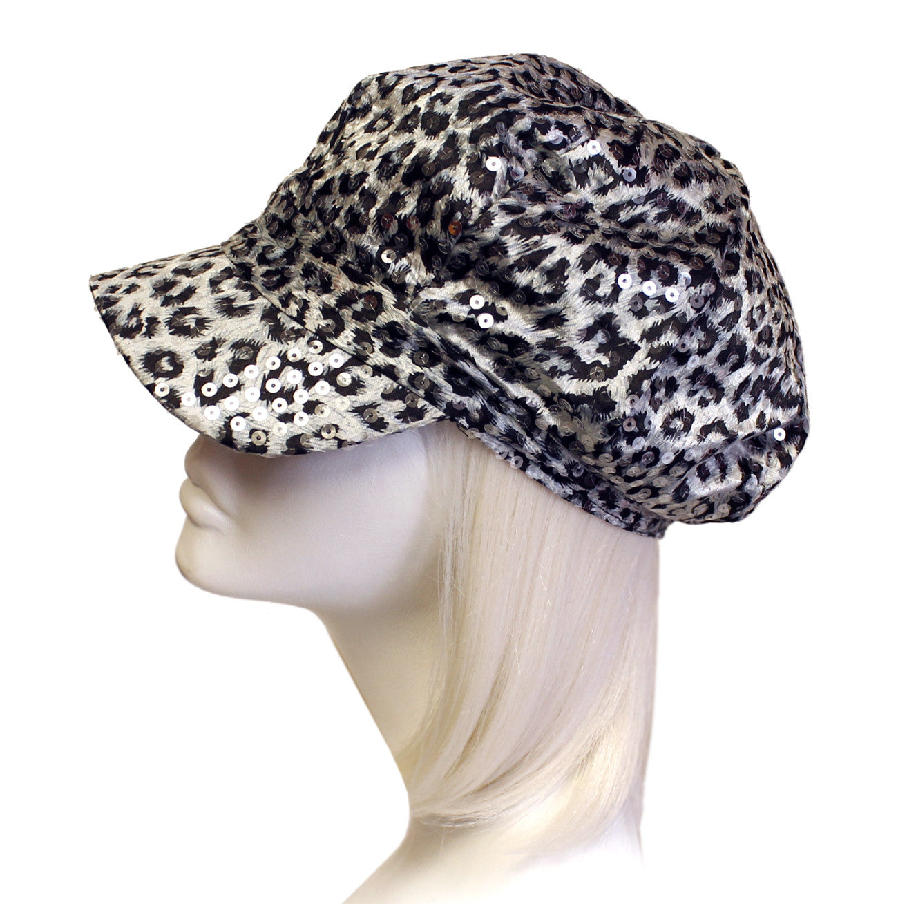 Mr. Song Millinery Newsboy Leopard Print Glitter Cap - 2 Colors