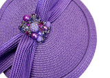 Jeweled Petite Dish Fascinator Headband - Purple