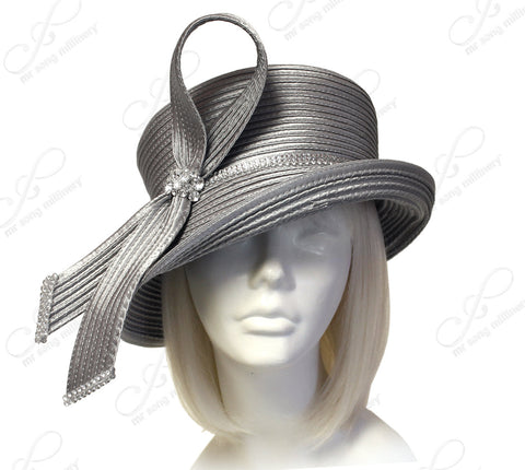 Medium Lampshade Brim Hat Brim With Loop Accent - Grey