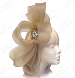 All-Season Crin Fascinator With Signature Accents - Champagne
