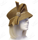 Slant-Crown Cloche Hat With Rhinestone Cluster Loop Bow - Gold