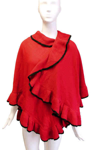Mr. Song Millinery Scarf Shawl Wrap Cape Drape Ruffled Edging - Red/Black