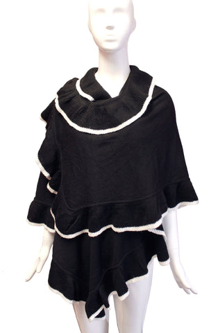 Scarf Shawl Wrap Cape Drape Ruffled Edging - 2 Colors
