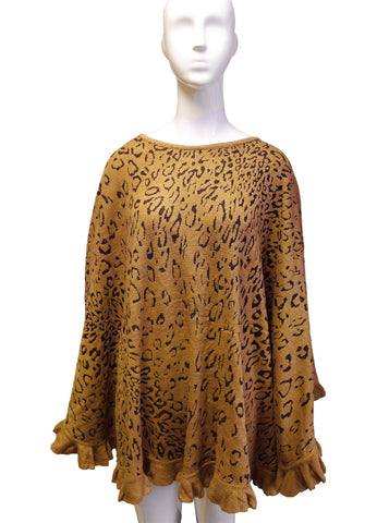 Shawl Wrap Cape Ruffled Edging - Leopard Print