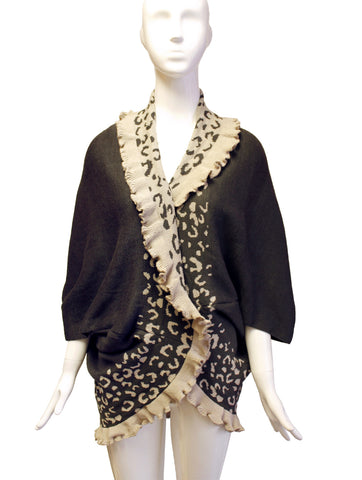 Shawl Wrap Cape Vest Ruffled Edging - Leopard Print