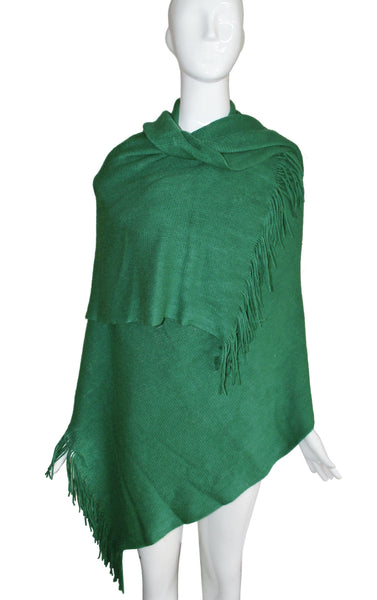 Mr. Song Millinery Shawl Wrap Cape Fringed Edging - Emerald Green