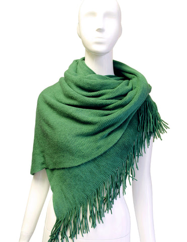 Shawl Wrap Cape Fringed Edging - Emerald Green