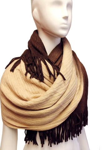 Shawl Wrap Cape Fringed Edging - Mocha