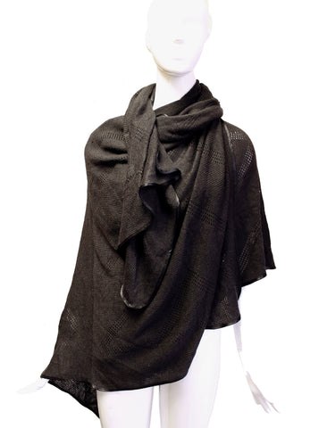 Crochet Shawl Wrap Cape - Black