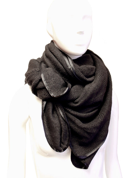 Mr. Song Millinery Crochet Shawl Wrap Cape - Black