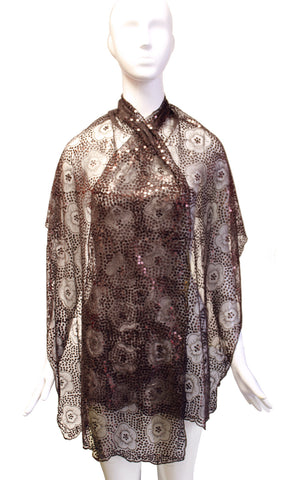 Sequin Lace Shawl Wrap Scarf Drape Cape - Brown