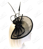 Profile Dish Sinamay Fascinator - Shimmery Black