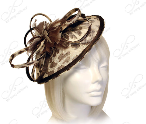 Profile Dish Sinamay Fascinator - Animal Print