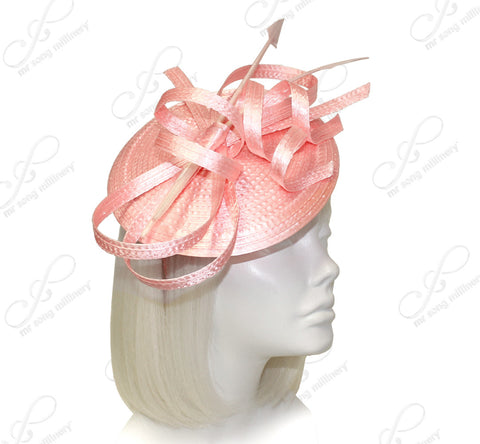 Royal Ascot Derby Dish Beanie Fascinator Headband - Peach
