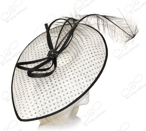 Royal Ascot Derby Profile Dish Fascinator - White/Black