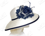 Rounded Crown Wide-Width Tiffany Brim Hat - Off White/Navy Blue