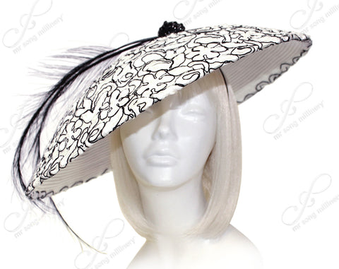 Derby/Ascot Profile Dome-Dish Fascinator - White/Black