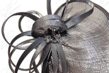 Profile Dish Sinamay Fascinator - Metallic Charcoal