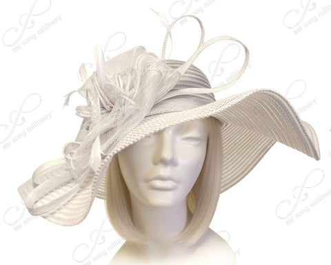 Derby/Ascot Crin & Sinamay All-Season Hat W/ Siganture Accents - Off White