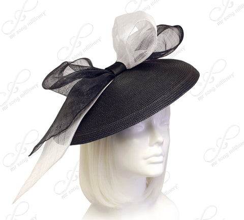 Profile Dome-Dish Fascinator - Black/White