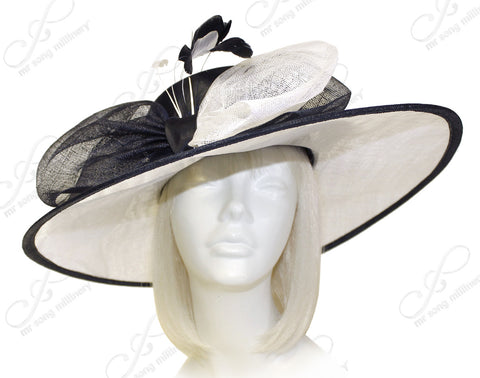 Kentucky Derby Ascot Sinamay Hat With Ribbon Accent - Black/White