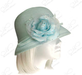 Bell Cloche Straw-Tagline Bucket Hat - Aqua Blue