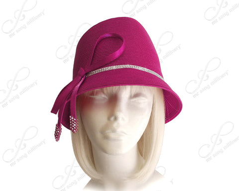 Fedora Style Bucket Cloche Hat With Knot-Bow - Magenta Pink