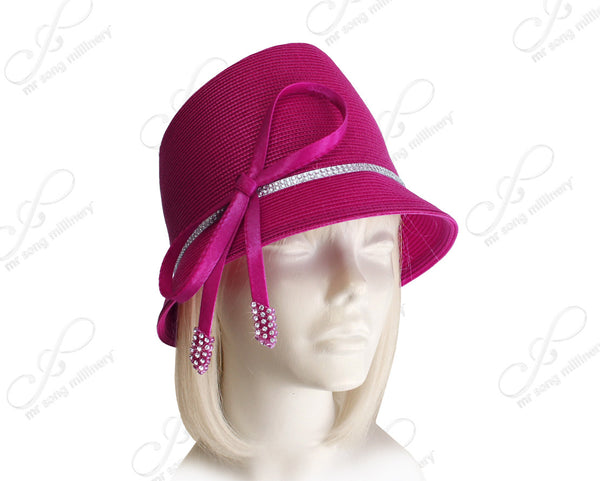 Mr. Song Millinery Fedora Style Bucket Cloche Hat With Knot-Bow - Magenta Pink