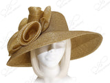 Antique Gold - Tagline Wide Brim Hat With Crin Accent