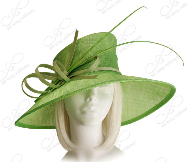 Mr. Song Millinery Derby/Ascot Wide Brim Sinamay Hat - 4 Colors