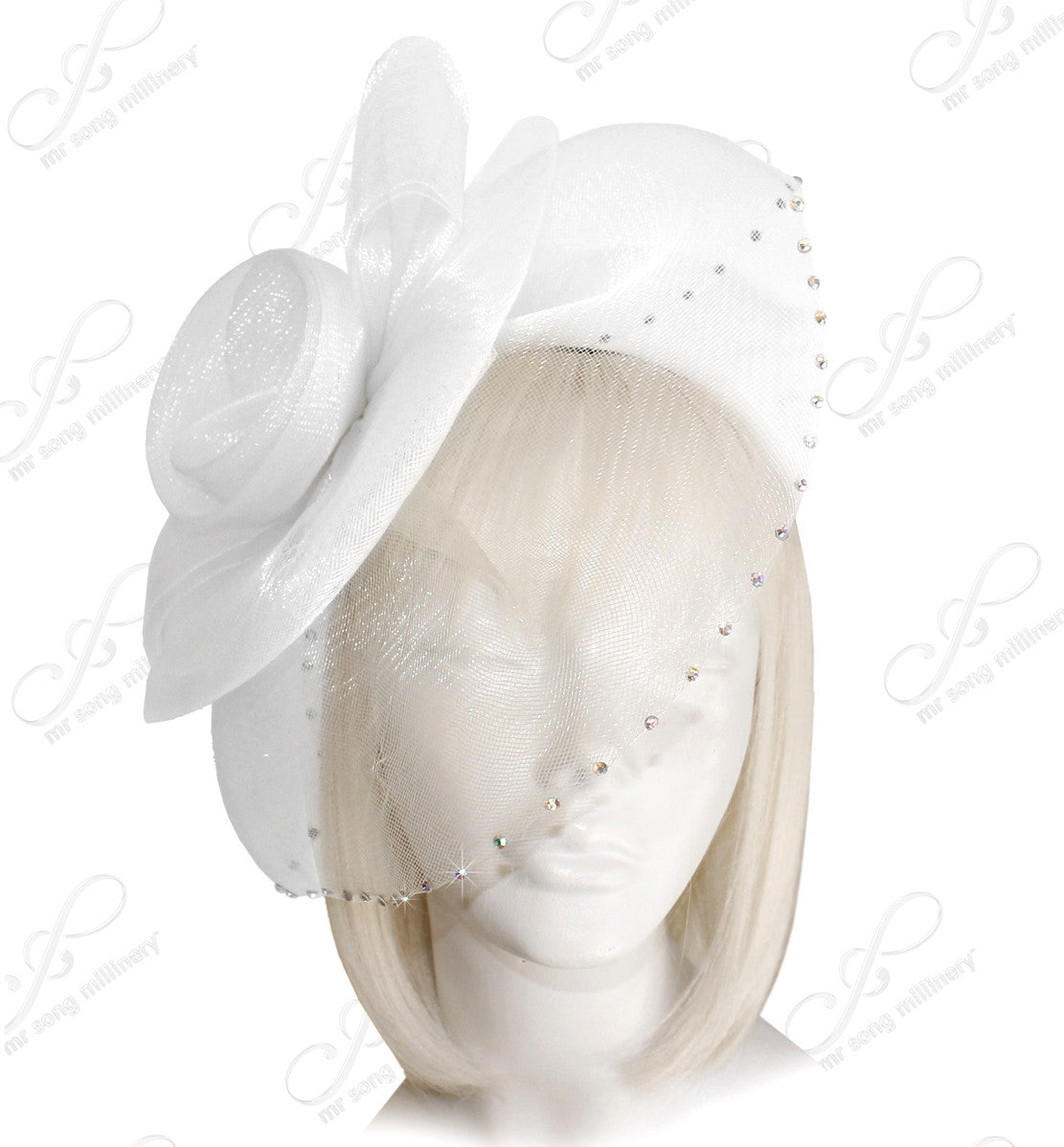 Mr. Song Millinery All-Season Crin Bridal Veil Fascinator Headpiece - White