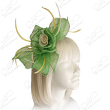 Sinamay Fascinator Headband - Lime/Yellow
