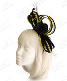 Sinamay Fascinator Headband - Black/Yellow