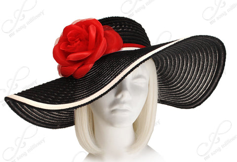 Derby/Ascot Crin & Sinamay All-Season Hat - Black/Red/White